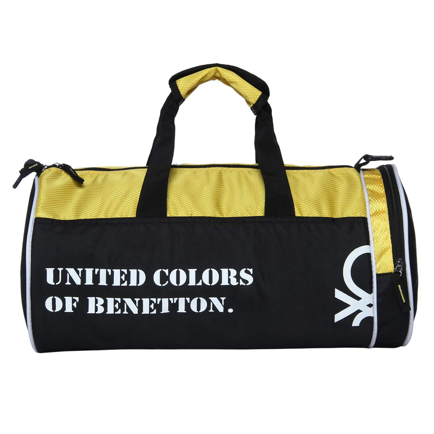 7722a3e423 United Colors of Benetton Gym Bag Polyester 45 cms Black Yellow Gym  Shoulder Bag