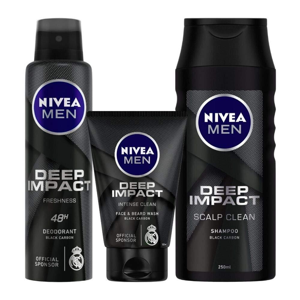 Nivea Deep Impact Deodorant, 150ml and Face Wash, 100ml with Shampoo, 250ml