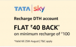 Amazon TataSky Offer : Get Flat Rs.40 Cashback on Recharge Of Rs.100